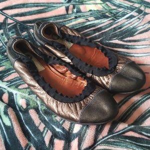 LANVIN Bronze Brown Leather Flats Size 37 1/2